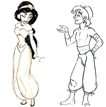 early sketches of jasmin vs Aladin