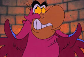 1. Iago (aladdin) Positive: gave up evil ways, hilarious, some what heroic, voiced by Gilbert Gottfried Negative: originally work for the villain, can still be selfish