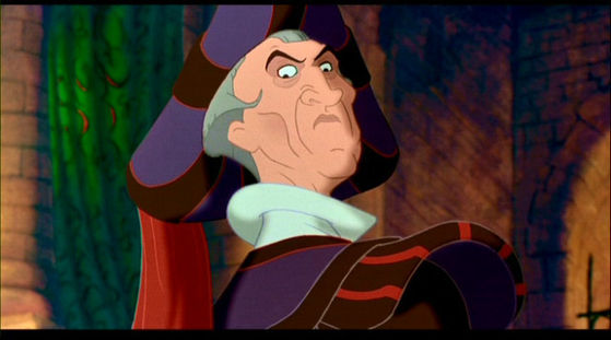 Judge Claude Frollo: tries to kill a whole race of people, and wants to do some very improper things to a young woman. Not to mention he thinks he's a holy man.