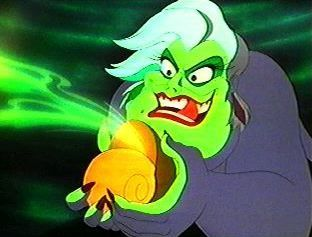 Ursula: uses a girl in an attempt to become reyna of the sea, and later tries to kill her.