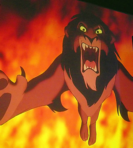 Scar: murders his brother and tries kill his nephew to become king