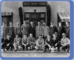 Walt (bottom row, right) and his staff at the Hyperion studio.