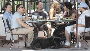 The Men of Entourage enjoy a coffee at Urth Caffe