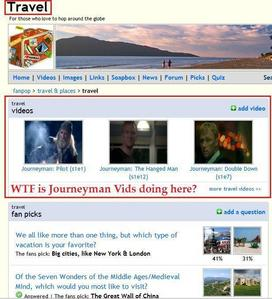 """Journeyman"" videos in the travel spot. *sigh*  (image credit to Cinders)"