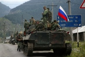 Russian troops on Georgian territory.