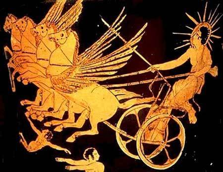 Everyday, Helios rides the chariot of the sun, to give light and heat to the world.