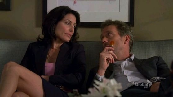 27. this is the segundo time house & cuddy are watching TV together but my fav moment in this scene is where house starts checking out cuddy's culo while sucking on a lollipop.