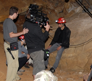 Kiowa Gordon filming in cave in Tennessee. Picture from 'Into the Darkness' film's myspace.