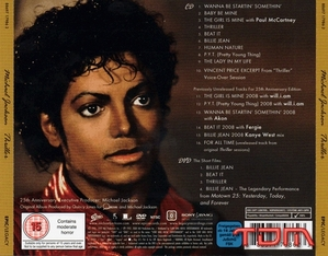 Back cover of 'Thriller 25' album.