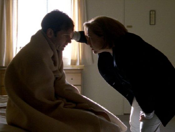 Season Four Demons # ~ Scully Puts A Blanket Around Mulder And Sees if Hes Ok
