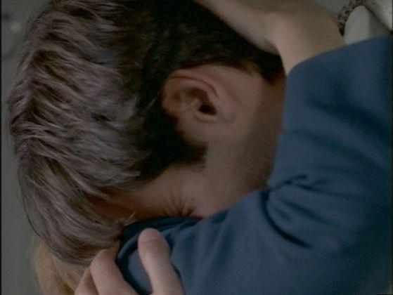 Season Four Herrenvolk # ~ Scully Hugs Mulder , He Cries In Her Arms