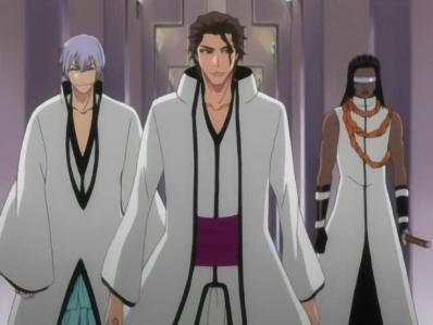 شراب, ٹھیکی on the left,Aizen in middle,and Tosen on right