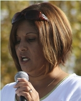 Maria Reyes told the crowd about the murder of her son by a gang member at the Peace and Unity Rally at Sunnyview Park Oct. 25.