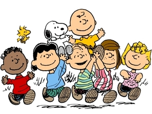 (From left to right) Franklin, Woodstock, Lucy, Snoopy, Linus, Charlie Brown, Peppermint Patty, Sally