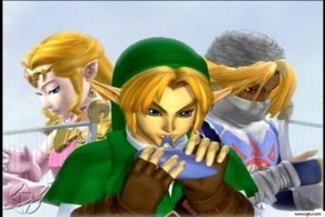 Zelda, Link, and Sheik (Zelda and Sheik are the same person, Sheik is Zelda's alter ego)