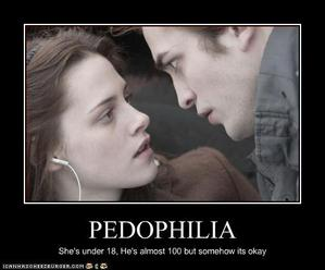 Internet humor describing the Edward/Bella relationship as pedophilia