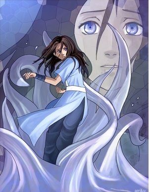 katara is trying to save aang. she loves him.