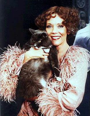 Diana Rigg with cat