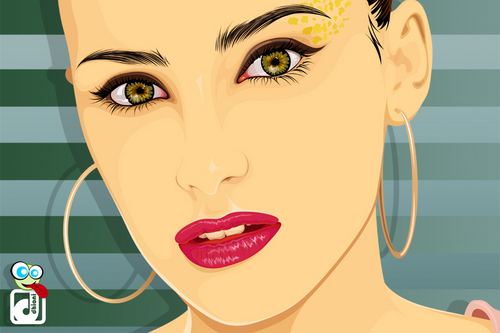Nelly Furtado Vector with Hoops and Eye Makeup