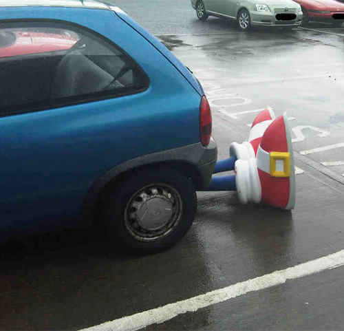Sonic got road killed...XD