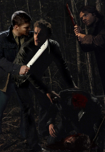 Sam and Dean decap some vampires, damn straight !!