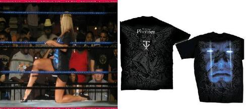 Michelle wearing The Undertaker overhemd, shirt