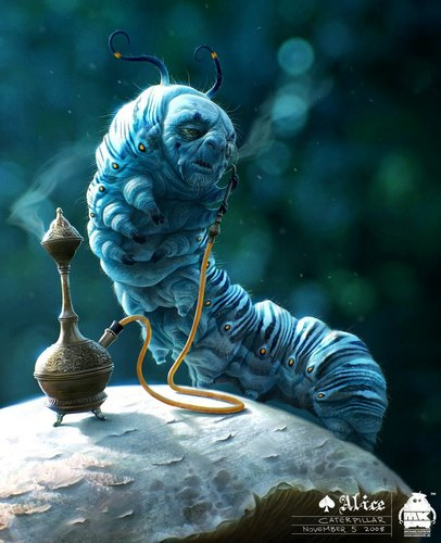 The caterpillar ~ Character Art kwa 'Alice In Wonderland' Character Designer Michael Kutsche