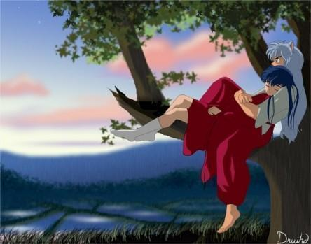 inuyasha and kagome siting in a árbol