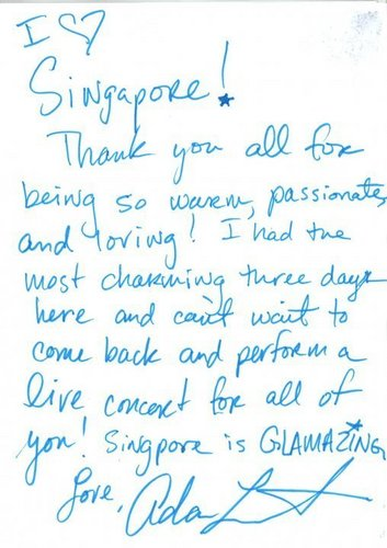 Adam's message to signapore fans!