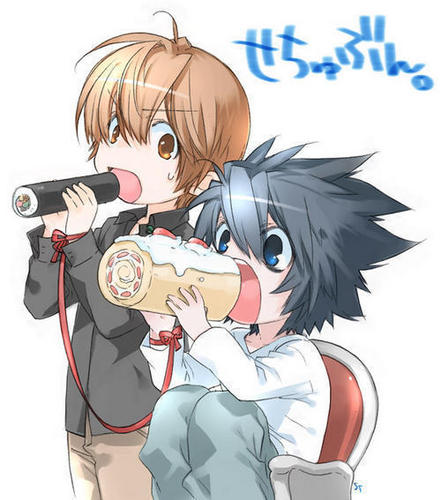 L(デスノート) Y LIGHT COMIENDO