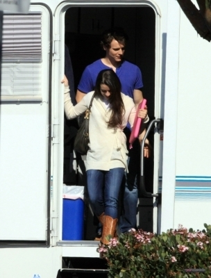 Leaving the trailer at the Glee set - February 3, 2010