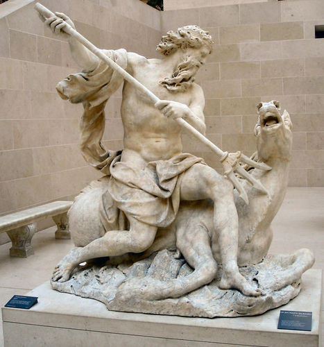 Coysevox's Neptune at the Louvre, in Paris.