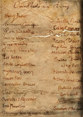 lijst of Members of Dumbledore's Army