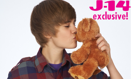 JB kissing a teddy bear