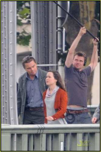 plus on the set of Inception with Ellen Page