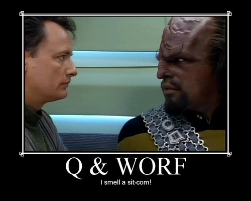 Q and Worf
