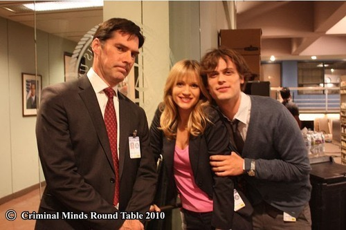 Matthew Gray Gubler with AJ Cook and Thomas Gibson