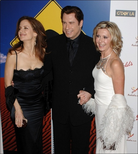 Olivia Newton-John with John Travolta and Kelly Preston