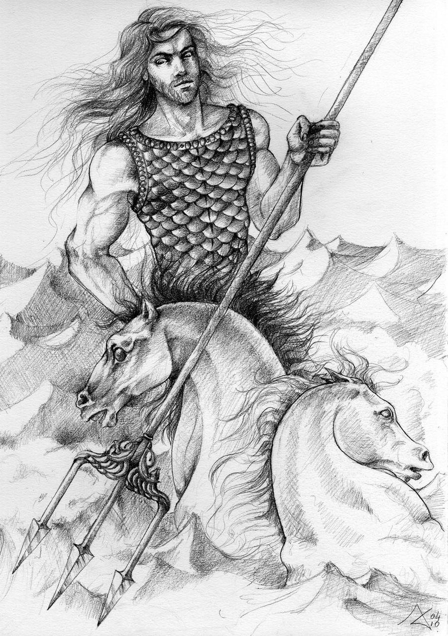 It's just an image of Nerdy Drawing Of Poseidon