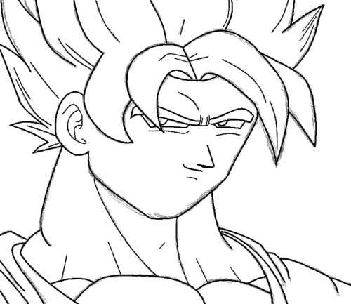 How to draw 孫 悟空 SSJ in MS Paint Step 3