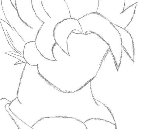 How to draw Goku SSJ in MS Paint step 1