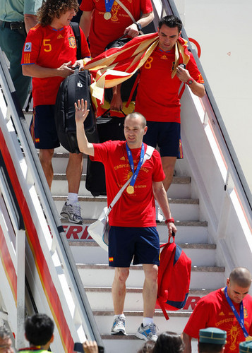 Spanish Football Team Arrives at Barajas Airport
