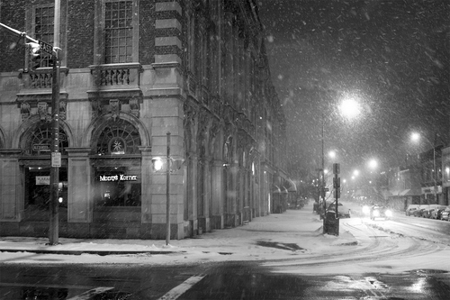 snowy street at night