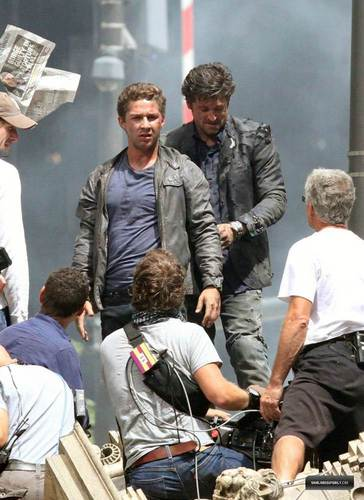 Shia & Patrick on set Transformers 3