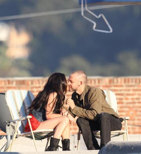 Dom and Megan Fox kissing on set!