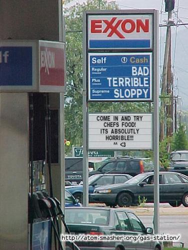 Gas station messege