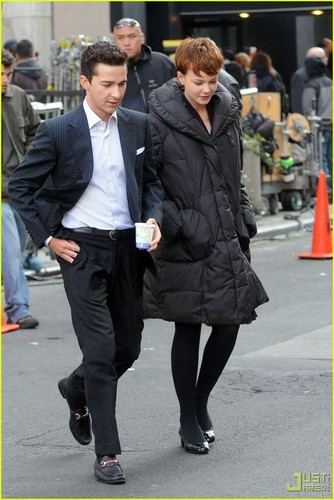 Shia on set Wall Street 2