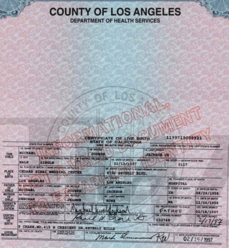 Prince's birth certificate
