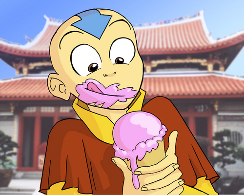 Aang Eating Ice Cream