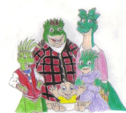 The Sinclair Family Drawn in a Cartoon-Like Fashion